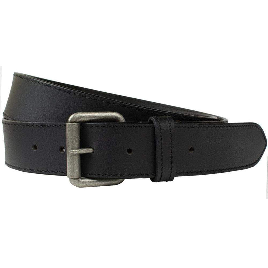Outback Belt by Nickel Zero - nickelfreebelts.com, Black genuine leather belt with a silver buckle