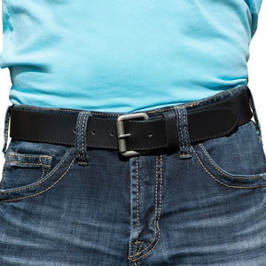 Outback Belt by Nickel Zero - nickelfreebelts.com, black leather belt custom made in the USA