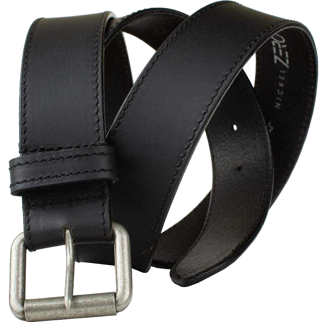 Outback Belt by Nickel Zero - nickelfreebelts.com, Black genuine leather belt with a silver rustic buckle, work belt, casual belt
