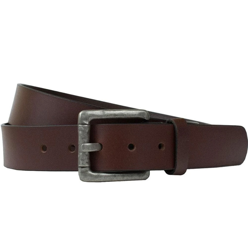 Pathfinder Belt by Nickel Zero - nickelfreebelts.com, brown genuine leather belt with a silver rustic buckle, slightly hammered look