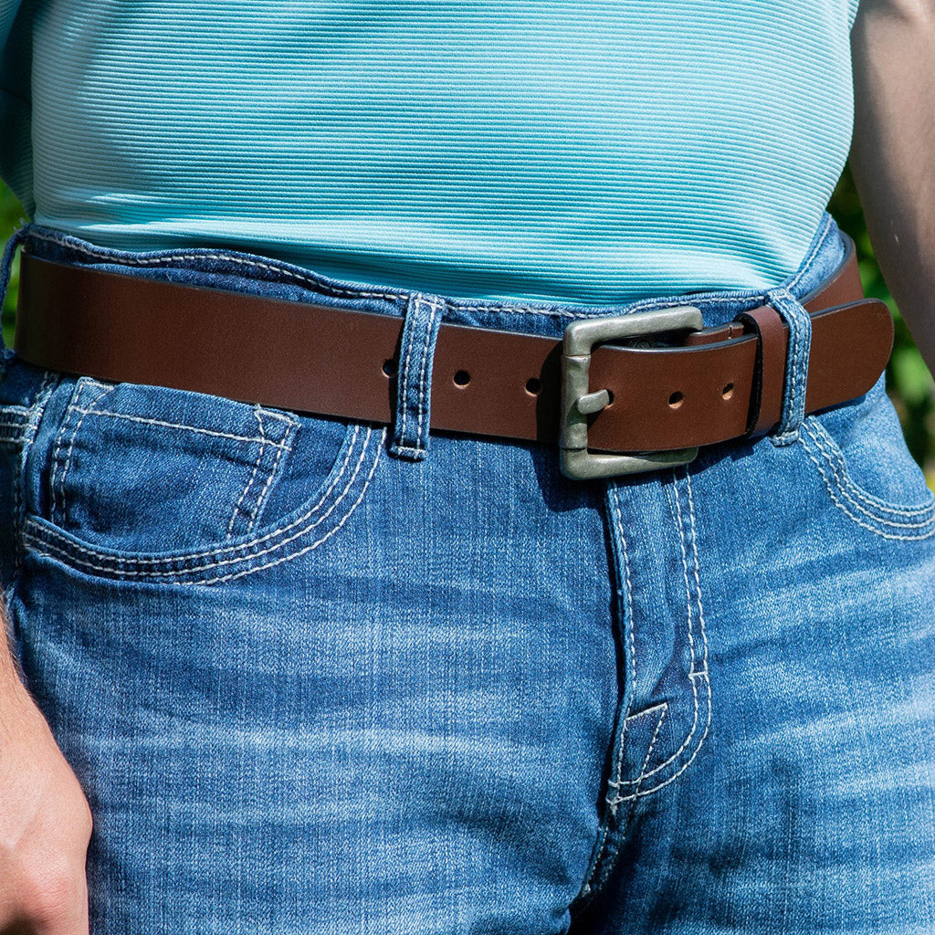 Pathfinder Belt by Nickel Zero - nickelfreebelts.com, brown leather belt with a silver buckle