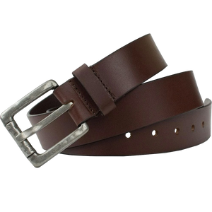 Pathfinder Belt by Nickel Zero - nickelfreebelts.com, Brown genuine leather belt with a silver rustic buckle, work belt, casual belt