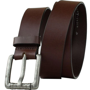 Pathfinder Belt by Nickel Zero - nickelfreebelts.com, Brown genuine leather belt with a rustic silver buckle, no nickel, nickel free, hypoallergenic