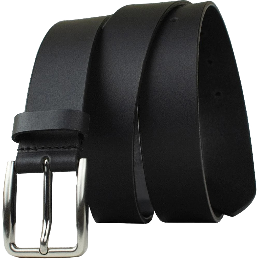 Slick City Belt by Nickel Zero - nickelfreebelts.com, Black genuine leather belt with a silver buckle, sleek belt, work belt, casual belt, dress belt