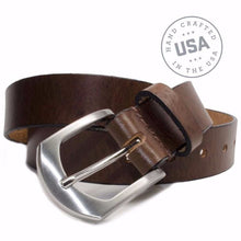 Image of Stone Mountain Brown Belt By Nickel Smart® | Nickel free, Hypoallergenic zinc buckle | Made in USA | Full Grain Leather