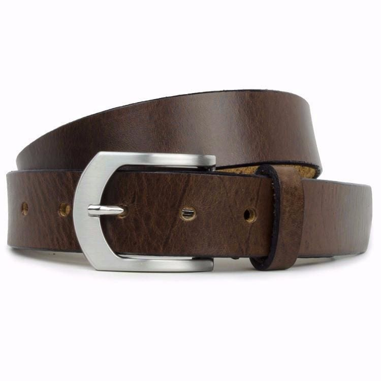Image of Brown Leather Belt with silver arched buckle.  Buckle is Nickle free and hypoallergenic.  The belt is has a full grain leather strap. Made in USA