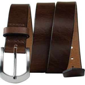 Stone Mountain Brown Leather Belt by Nickel Smart®