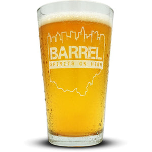 Barrel on High Pint Glass Glassware
