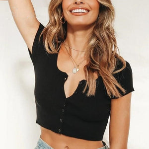 Button Knitted Crop Top