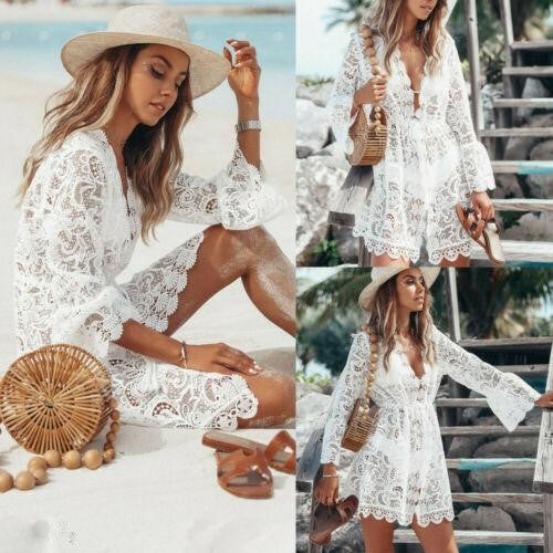 Floral Lace Crochet Swimsuit Cover-Up