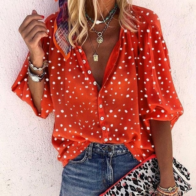 V-Neck Button Blouse
