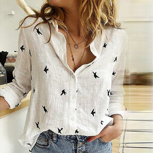 V-neck Floral Print Autumn Blouse Women