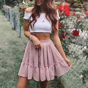 Casual Polka Dot Ruffle Skirt