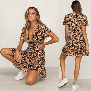 Leopard Print V Neck Dress