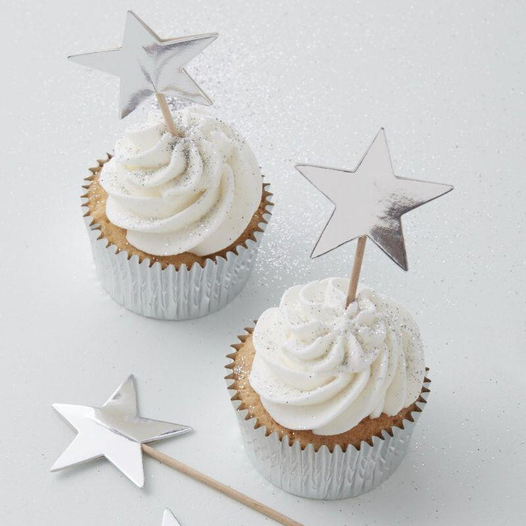 10 Silver Star Toppers, Christmas Cupcake toppers,