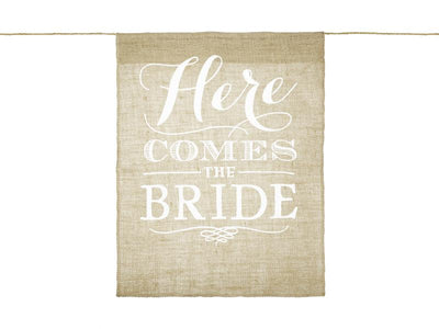 Here Comes the Bride Aisle Sign, Rustic Wedding Decoration, Boho Wedding, Wedding Deco