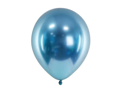 10 Blue Chrome Balloons, Blue Party Balloons, Graduation,Baby shower,