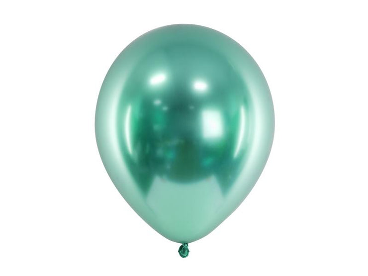 10 Green Chrome Balloons, Dino Party Balloons