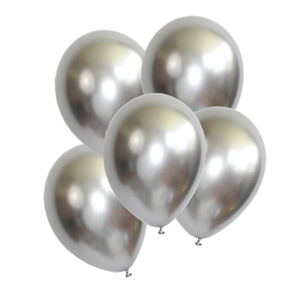 10 Silver Chrome Balloons, Wedding Decor, Graduation, Bachelorette Party,