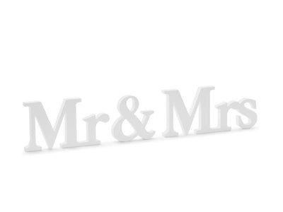 Wooden inscription Mr  Mrs, white, 50x9.5cm