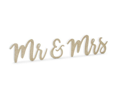Wooden inscription Mr  Mrs, gold, 50x10cm