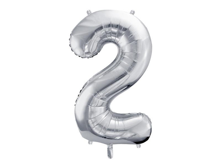 Foil Balloon Number 2, 86cm, silver