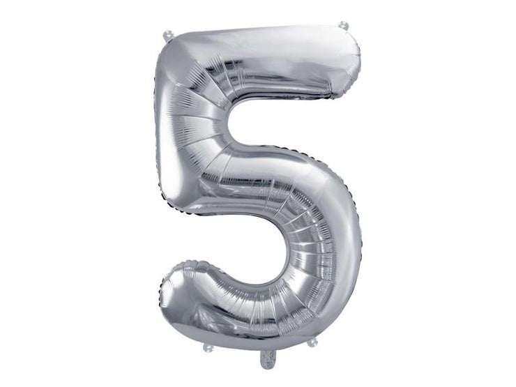 Foil Balloon Number 5, 86cm, silver