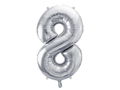 Foil Balloon Number 8, 86cm, silver