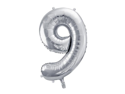 Foil Balloon Number 9, 86cm, silver