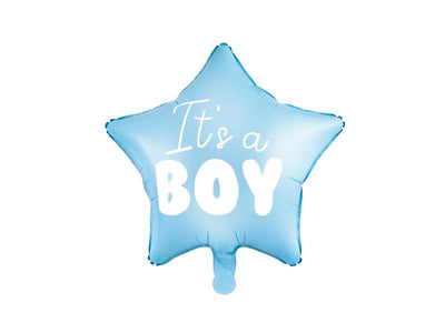Foil Balloon Star - It's a boy, 48cm, light blue