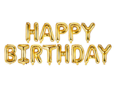 Gold Happy Birthday Foil Balloon, Large Happy Birthday balloon, Birthday Decoration