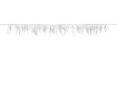Feather garland, white, lenght 1m