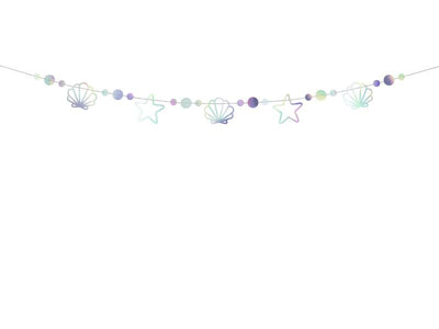 Iridescent Mermaid Bunting, Mermaid Birthday Decoration 1.65m