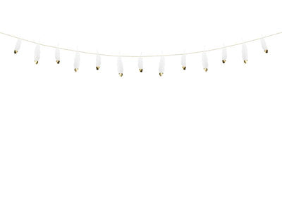 White Real Feathers Bunting 1.6m - Wedding Decoration