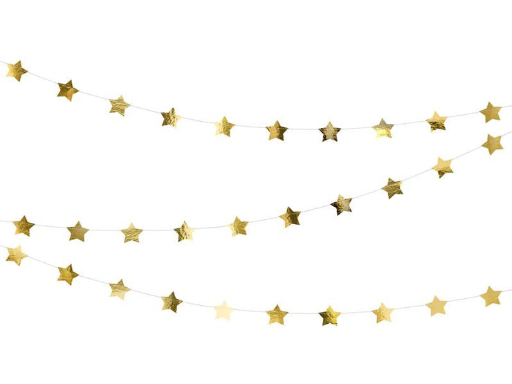 Gold Stars Bunting, Gold Stars Banner 3.6m