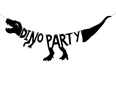 Black Dinosaurs Banner  - Dino Party, 20x90 cm