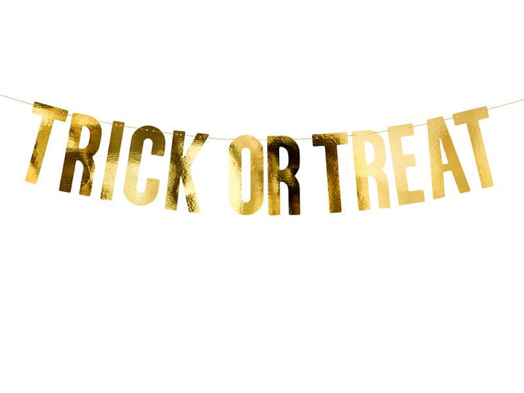 Banner Trick or Treat, gold, 12 x 80 cm