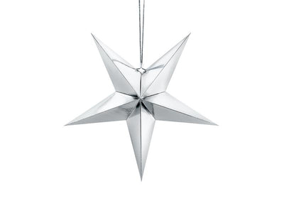 Silver Paper Star 45cm, Silver Stars, Wedding Decorations,
