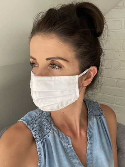 White Face Mask with Filter Pocket, Washable Cotton Face Mask