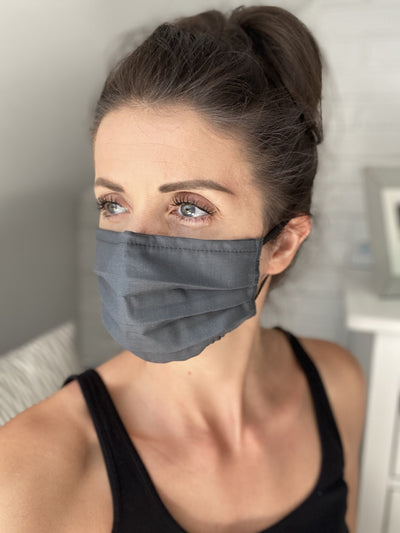 Graphite Face Mask with Filter Pocket, Washable Cotton Face Mask