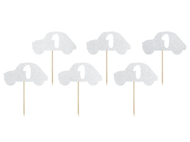 Cupcake toppers 1st Birthday, silver (1 pkt / 6 pc.)