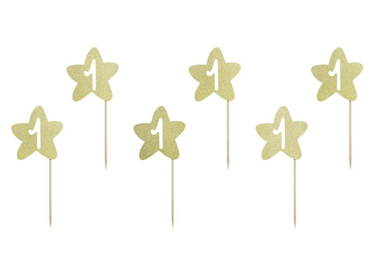 Cupcake toppers 1st Birthday, gold (1 pkt / 6 pc.)
