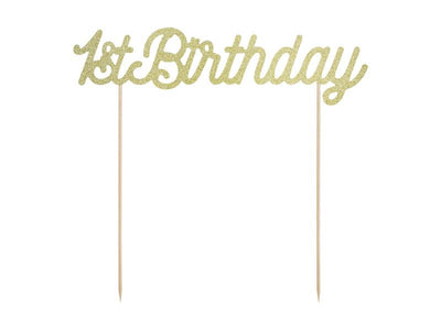 Cake topper 1st Birthday, gold