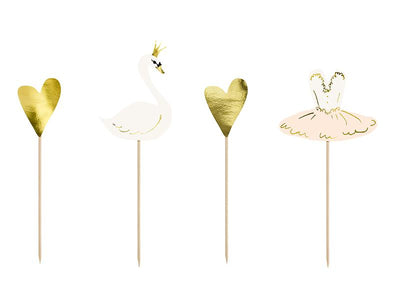Cake toppers Lovely Swan, (1 pkt / 4 pc.)