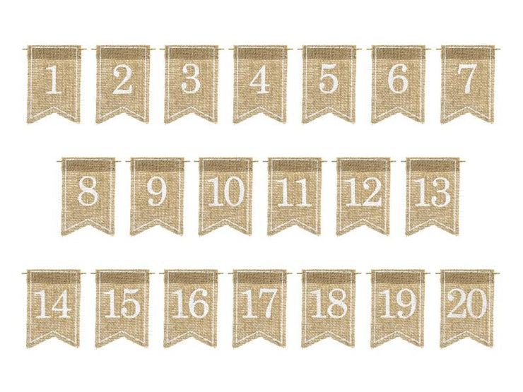 20 Hessian Wedding Table Numbers, Rustic Wedding Table Numbers, Wedding Table Decor,