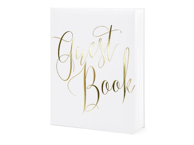 Gold and White Guest Book,Gold Wedding, Baby Shower Guest Book, Gold Script