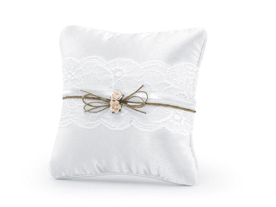 White Ring Cushion, Wedding Ring Pillow, Ring Bearer Pillow,