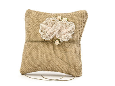 Hessian and Lace Ring Cushion, Wedding Ring Pillow, Ring Bearer Pillow