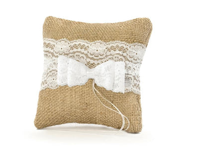 Hessian and Lace Ring Cushion, Wedding Ring Pillow, Ring Bearer Pillow,