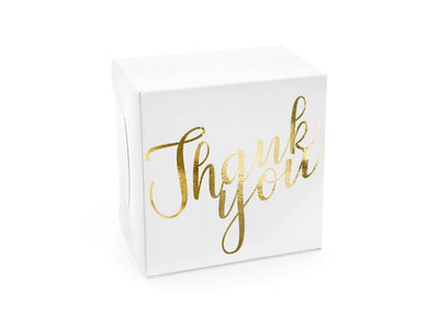 Decorative cake boxes - Thank you, gold, 14x8.5x14cm (1 pkt / 10 pc.)